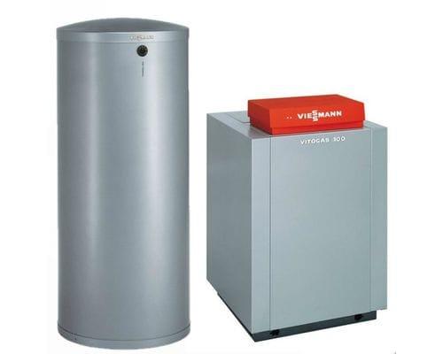 Пакет Viessmann: котел Vitogas 100-F 29 кВт с автоматикой Vitotronic 100 KC4B + бойлер Vitocell 100-W CVA 200 литров GS1DB37